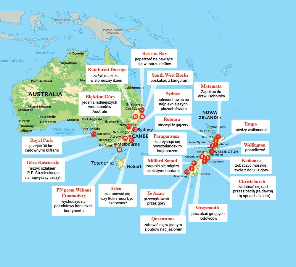 Australia i Nowa Zelandia mapa